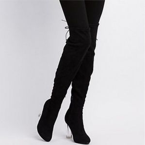 Over the knee boots black clear heel size 9
